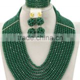 Gold-plated 10layers Opaque Balls Crystal Beads Nigerian Jewelry Set