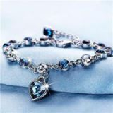 Hot Sale Zodiac Blue Austrian Crystal Heart Charm Bracelet, Adjustable Bracelet Jewelry Wholesale For Women