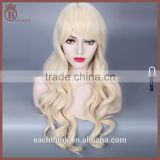 Fashion Sexy Synthetic Body Wave Hair Golden Long Curl Cosplay Wigs