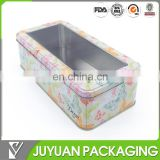 Rectangular tin box cosmetic tins with clear window top