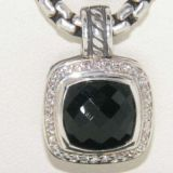 925 sterling silver jewelry 11mm black onyx albion pendant(P-002)