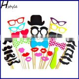 32PCS DIY Funny Glasses Moustache Red Lips On Sticks Christmas Wedding Party Photo Booth Props PFB0023