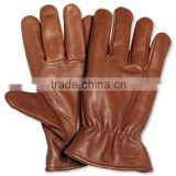 Dark Chocolate Brown Genuine Sheepskin Leather Winter Warm Gloves