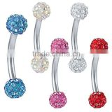 Dazzling Crystal Dual Ferido Ball 316L surgical steel eyebrow piercing ring Body Piercing Jewelry