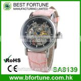 SA8139 Skeleton automatic movement high class leather strap watch