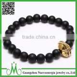 Wholesale fashion jewelry matt onyx bracelet men 8mm shiny black bead bracelet