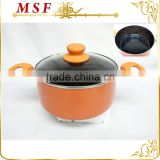 new ceramic and orange marble coating press aluminum casserole pot with comfortable handles                                                                         Quality Choice