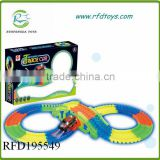 Electric race track car luminous toys railway car