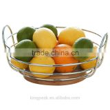 2015 Best Selling Round Chrome Wire Fruit Bowl with Rubber Wood Base/Fruit Basket/metal wire fruit basket