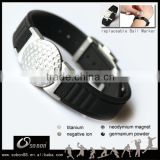 custom logo golf ball marker silicone magnetic bracelet with automatic adjustable lock buckle