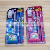 Promotional Cheap School Office Cartoon Stationery Creative Gift Pen pencil Box Set For Children Students kids 7 pieces