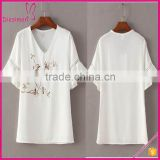 Ladies V Neck Embroidery Design Chiffon White Ruffle Sleeve Blouse Designs
