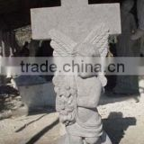 High quality white marble angel cross tombstones headstones hand carved stone sculpture from Vietnam