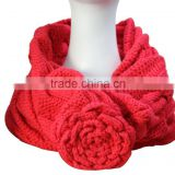 Soft CHunky Acrylic Ladies' Handmade Round Scarf Cable Knitted Flower Infinity Neck Scarf