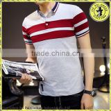 Wholesale men's 100% cotton t-shirt short-sleeved T-shirt lapel polo shirt men's striped T-shirt