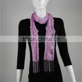 100%SILK+SEQUIN crinkle solid pure color scarf with beads tassel