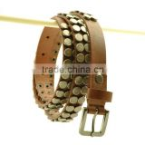 2016 New Fashion Women Brown Studded Leather Belt