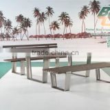 stainless steel plastic wood bench and table, stainless steel garden dining set, plastic wood durable dining furniture