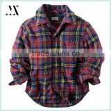 Wholesale Long Sleeve Cotton Plaid Flannel Button-Front Children Wear Shirt Classic Shirt For Boys