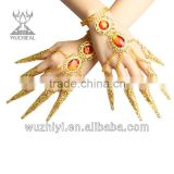 2014 Cheap Golden beaded sequin belly dance accessories Hand guanyin manicure set (T023)