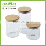 China supplier glass canister wood lid