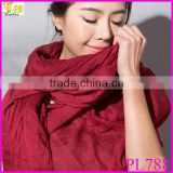 New Hot 2014 Fashion Style Cotton Scarves Autumn and Winter Warm Solid Color All-match Pleated Muslim Hijab Scarf