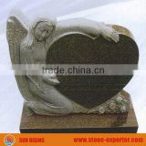 Cheap Granite European Style Tombstone With Angel and Heart Shape