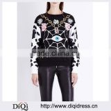 Round Neck Long Sleeves Contrast Colored Bead Embellished Cotton Jersey Sweatshirt(DQE0174T)