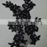 Beaded Appliques Lace Trims 3D Floral Embroidery Lace Trims for Bridal Accessories in stock