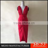 MGOO New Design Fast Selling OEM Sexy Deep V bodycon Night Party Bandage Dress Red Belted Evening Dress Z271