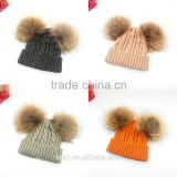 Stylish kids Double Balls Winter Warm Wholesale Beanie Hats with raccoon fur ball