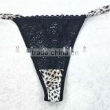 Women sexy black lace and fancy leopard printing transparent g string panty