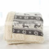 Christmas Printed Micro Mink and Solid Sherpa Baby Blanket