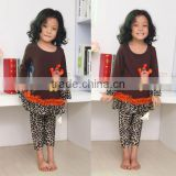 Hot 2014 Fall Cotton Halloween Girls Clothing Leopard pants Sets With Ruffle Long Sleeve Baby Girl Outfits With turkey
