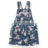 bulk wholesale kids clothing Floral printing denim baby overalls