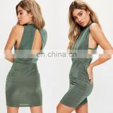 New Design Ladies High Neck Sexy Bodycon Dress in Mini Length