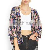 2015 Women Chiffon Cardigan Seven Brief Paragraph Floral Suit Bat Sleeve Loose Leisure Printing Kimono T-shirt