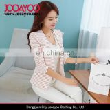 Women New Fashion Coat suit designs Single Button Pink and White Striped Slim ladies blazer designs