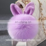 Factory Price Fashion Plush Faux Fur Pom Pom Rabbit Shape Keychain Girl's Bag Accessories Car Pendant