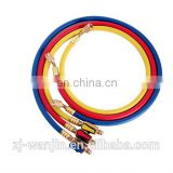 freon refrigerant charging hose with ball valve fitting