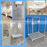metal four leg for single sink washstand, satin table frame