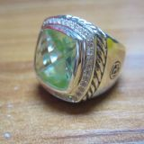 Sterling Silver Jewelry 15mm Prasiolite Albion Ring(R-129)