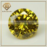 Good Quality Fashion Round Brilliant Cut 7.0mm yellow Cubic Zirconia