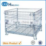 Industrial stackable foldable storage metal transportation wire mesh containers universal