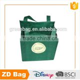 New Style High Quality Green Non Woven Wine Bottle Shopping Bag