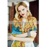 QD80434 Lady European Design 100% Silk with Environmental Activity Printed Long Soft Scarves