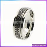 Stainless Steel Spinner Etched Regular Line Gay Men Rings