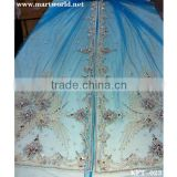 blue beaded mesh fabric for evening dresses with stones(KFT-023)                                                                         Quality Choice