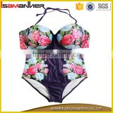 Micro bikini swimwear fancy flower printing sexy lady tankini swimsuit with halter                                                                                                         Supplier's Choice