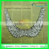 custom latest embroideried rhinestone neckline design lace collar /beautiful neckline